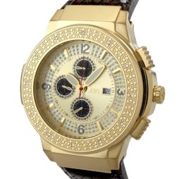 JBW Brown Leather Gold dial Watch for Men's JB-6101L-E