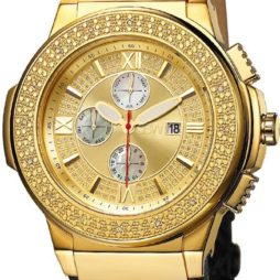 JBW Black Leather Gold dial Watch for Men's JB-6101L-J