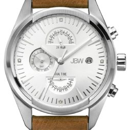 JBW Brown Leather Silver dial Watch for Men's J6300B