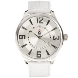 Guess White Leather White dial Watch for Men's G59021G3
