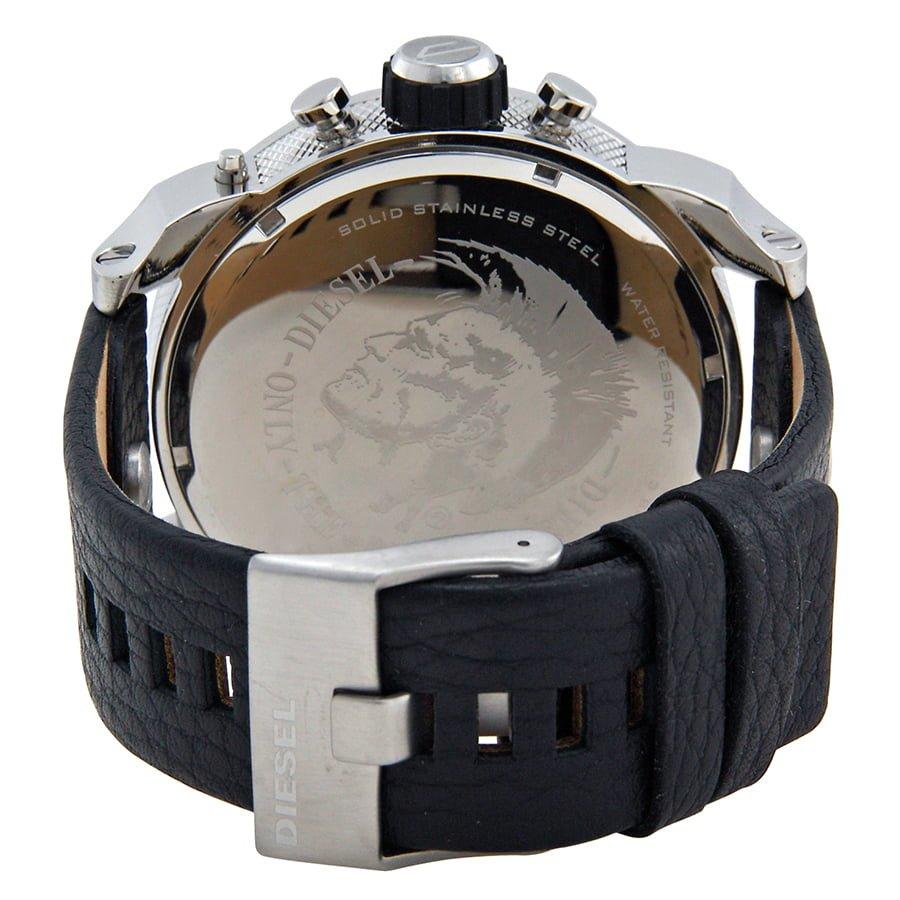 Diesel Black Leather Black dial Watch for Men's DZ7125