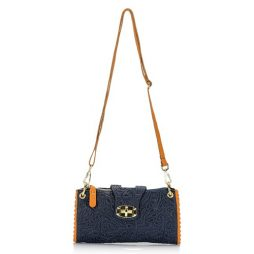 Giulia Massari Blue Leather Shoulder 6689 BLUE