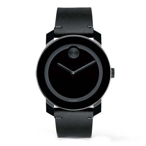 Movado Black Leather Black dial Watch for Men's 3600352