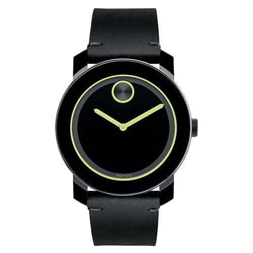 Movado Black Leather Black dial Watch for Men's 3600273