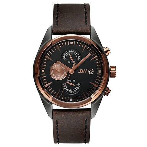 JBW Brown Leather Black dial Watch for Men's J6300A