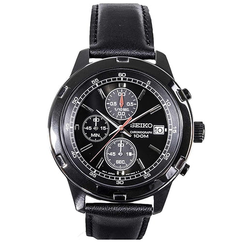 Seiko Black Leather Black dial Watch for Men's SKS439