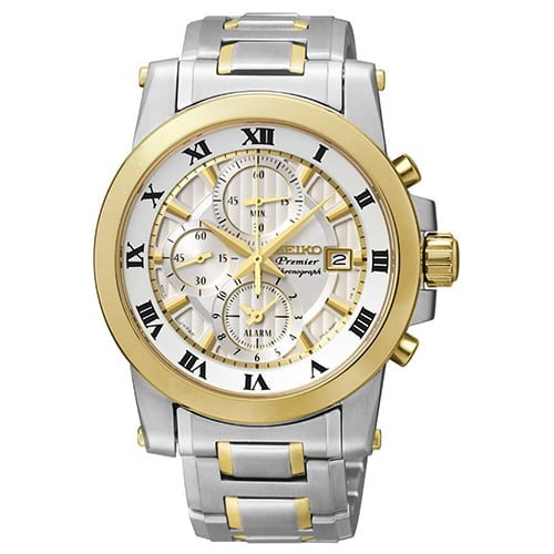 Seiko Silver Stainless Two Tone dial Watch for Men's SNAF32P1