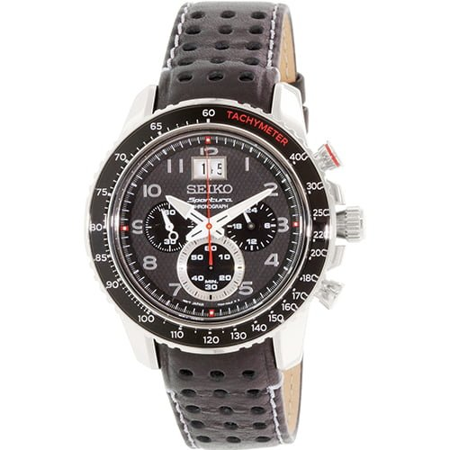 Seiko Black Leather Black dial Watch for Men's SPC139P1