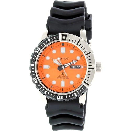 Seiko Black Rubber Orange dial Watch for Men's SRP589K1
