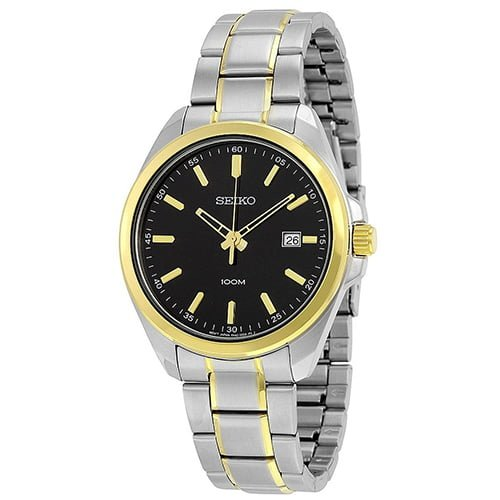 Seiko Silver Stainless Black dial Watch for Men's SUR072