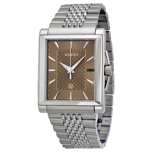Gucci Silver Stainless Brown dial Watch for Men's YA138402