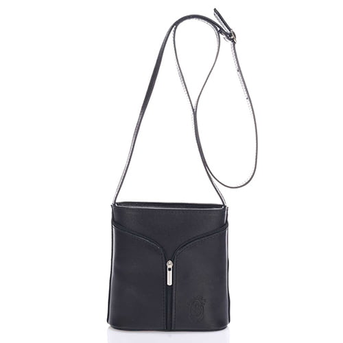 Giulia Massari Black Leather Shoulder 8017 BLACK