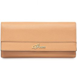 Guess Brown Leather Clutch 28720110-COGNAC