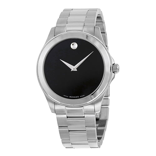 Movado Silver Stainless Black dial Watch for Women's 0605746