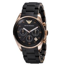 Armani Black Silicone Black dial Watch for Men's AR5905