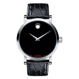 Movado Black Leather Black dial Watch for Men's 0606112