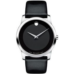 Movado Black Leather Black dial Watch for Men's 0606502