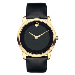 Movado Black Leather Black dial Watch for Men's 0606876