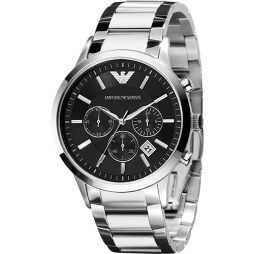 Armani Silver Stainless Black dial Watch for Men's AR2434