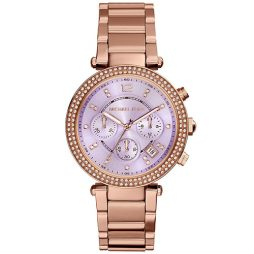 Michael Kors Rose Gold Stainless Purple dial Watch for Women's MK6169