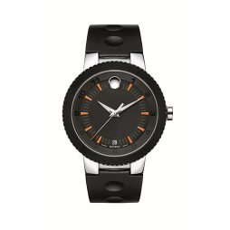 Movado Black Rubber Black dial Watch for Men's 0606926