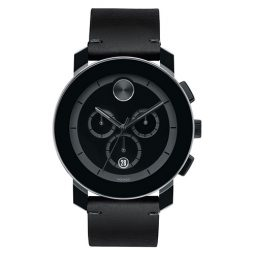 Movado Black Leather Black dial Watch for Men's 3600337