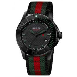 Gucci Two Tone Fabric Black dial Watch for Men's YA126229