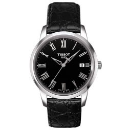 Tissot Black Leather Black dial Watch for Men's T0334101605301