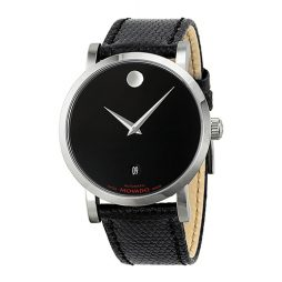 Movado Black Leather Black dial Watch for Men's 0606114