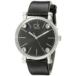 Calvin Klein Black Leather Black dial Watch for Women's K3B231C1