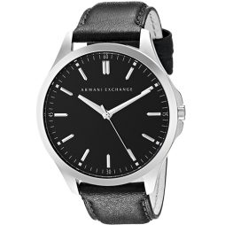 Armani Exchange Black Leather Black dial Watch for Men's AX2149