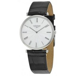 Longines Black Leather White dial Watch for FOR HER L47094712