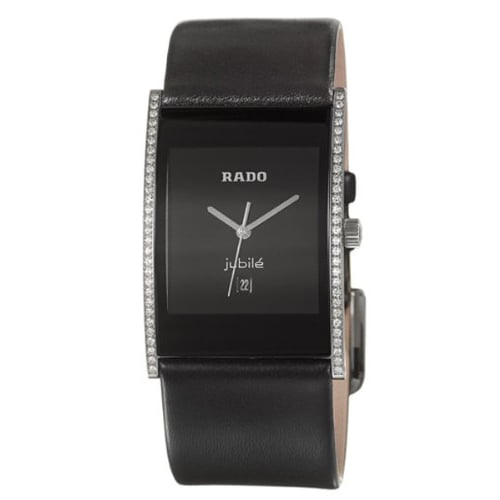 Rado Black Leather Black dial Watch for Women's R20757155