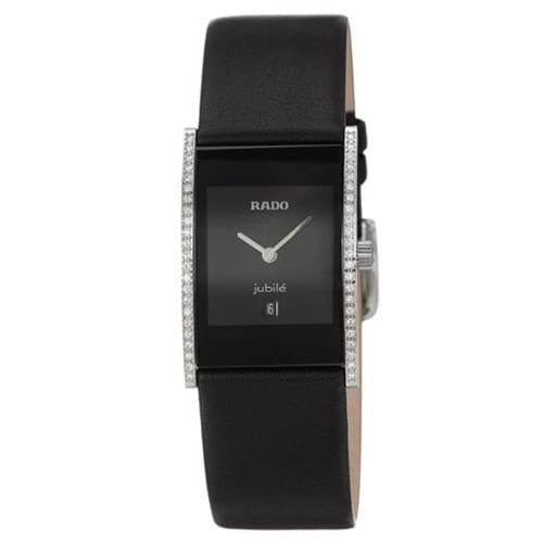 Rado Black Leather Black dial Watch for Women's R20758155