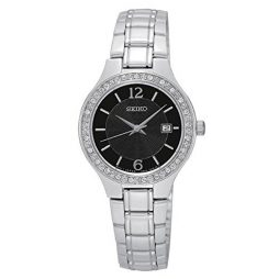 Seiko Silver Stainless Black dial Watch for FOR HER SUR785