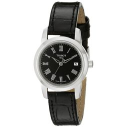 Tissot Black Leather Black dial Watch for Women's T0332101605300