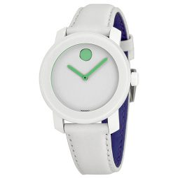Movado White Leather White dial Watch for FOR HER Men's 3600154