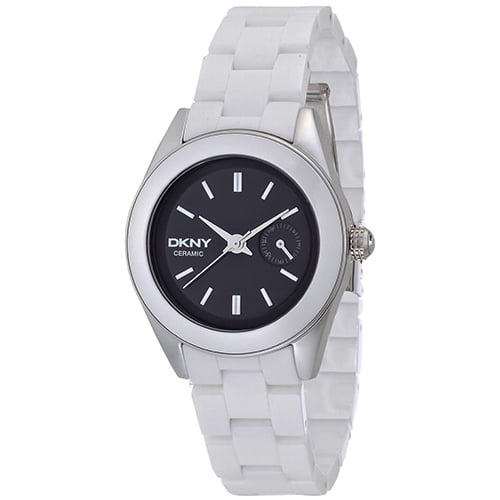 DKNY White Ceramic Black dial Watch for Women's NY2142