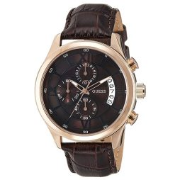 Guess Brown Leather Brown dial Watch for Men's W14052G2